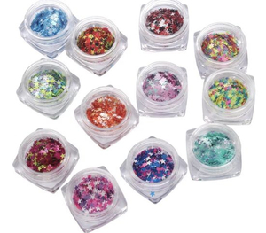 Mixed Colors Star Heart Shape Glitter for Nail Tips Decoration