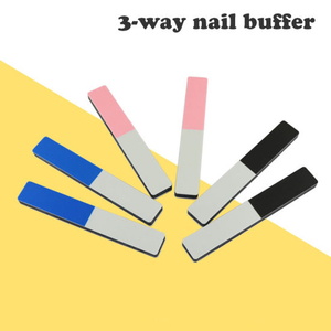 3-Way Nail File Buffing Washable Polishing Sandpaper Nail Buffer Manicure