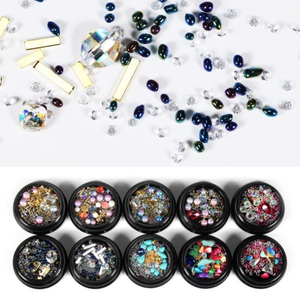 Ladymisty Mixed Diamond Nail Art Rhinestone Pearl 3D Decorations