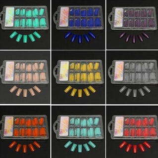 100PCS/Set DIY Nail Art Colored French Tips False Nail Tips