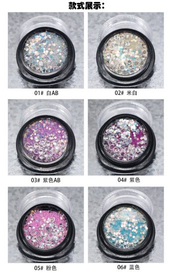 Mixed Diamonds and Beads with Glitter Nail Art Decorations DIY