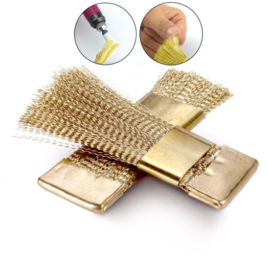 Portable Manicure Cleaner Brass Nail Art Drill Bits Cleaning Brush