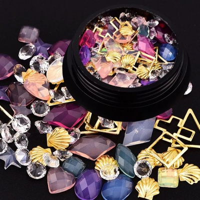 Mixed Colorful Diamonds Beads Stones Metals for Nail Art Decorations