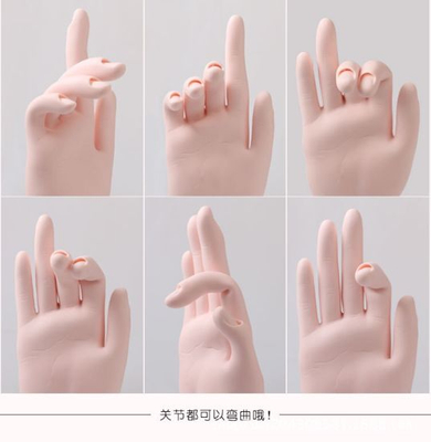 Bendable Practice Flexible Movable Soft Fake Hands Nail Art Training
