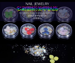 Nail Art Real Dry Flower Colored Diamonds Crystal Stones