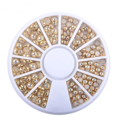 Gold Metal Edge Pearls Glitter Charm Nail Art Decorations Wheel